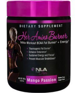 NLA for Her Her Amino Burner Intra-Workout BCAA Fat Burner + Energy Supplement, Mango Passion, 0.43 Pound image