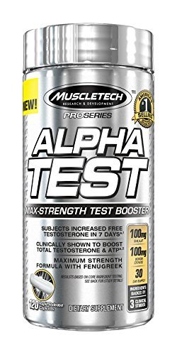 MuscleTech Pro Series AlphaTest, Max-Strength Testosterone Booster, 120 Rapid-Release Capsules image