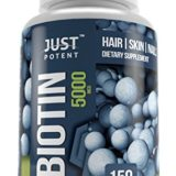 Biotin Supplement by Just Potent :: 5,000 MCG :: Hair Growth Support For Longer, Healthier, and Luscious Hair :: Radiant Skin :: Stronger, Longer, and Healthier Nails :: 150 Capsules :: 5-Month Supply thumbnail