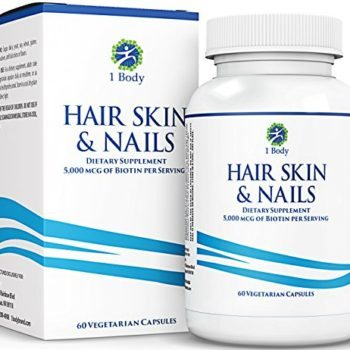 Hair Skin and Nails Vitamins – Supports Hair Growth & Restoration – Biotin 5,000 mcg – Unique Extra Strength Formula with 60 Vegetarian Capsules image