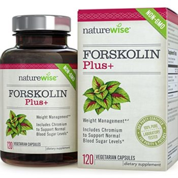 NatureWise Forskolin Plus+ for Weight Loss with Chromium for Healthy Blood Sugar Support, Coleus Forskohlii Supplement, 250 mg, 120 count image