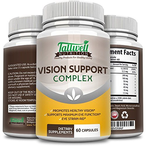 Vision Health Eye Supplement w/Lutein, Bilberry, Taurine, Lycopene, Quercetin, Minerals, Maximum Strength Vitamins for Eye Health from Tallwell Nutrition, 30 Day Complete Supply image