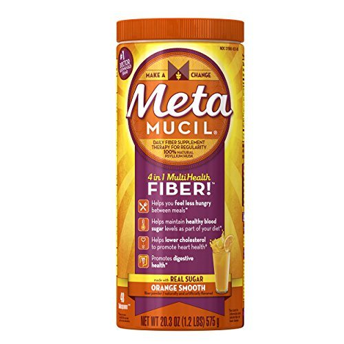 Metamucil Daily Fiber Powder Supplement, 100% Natural Psyllium Husk, Orange Smooth Sugar Fiber Powder, 48 Dose, 20.3 Ounce image