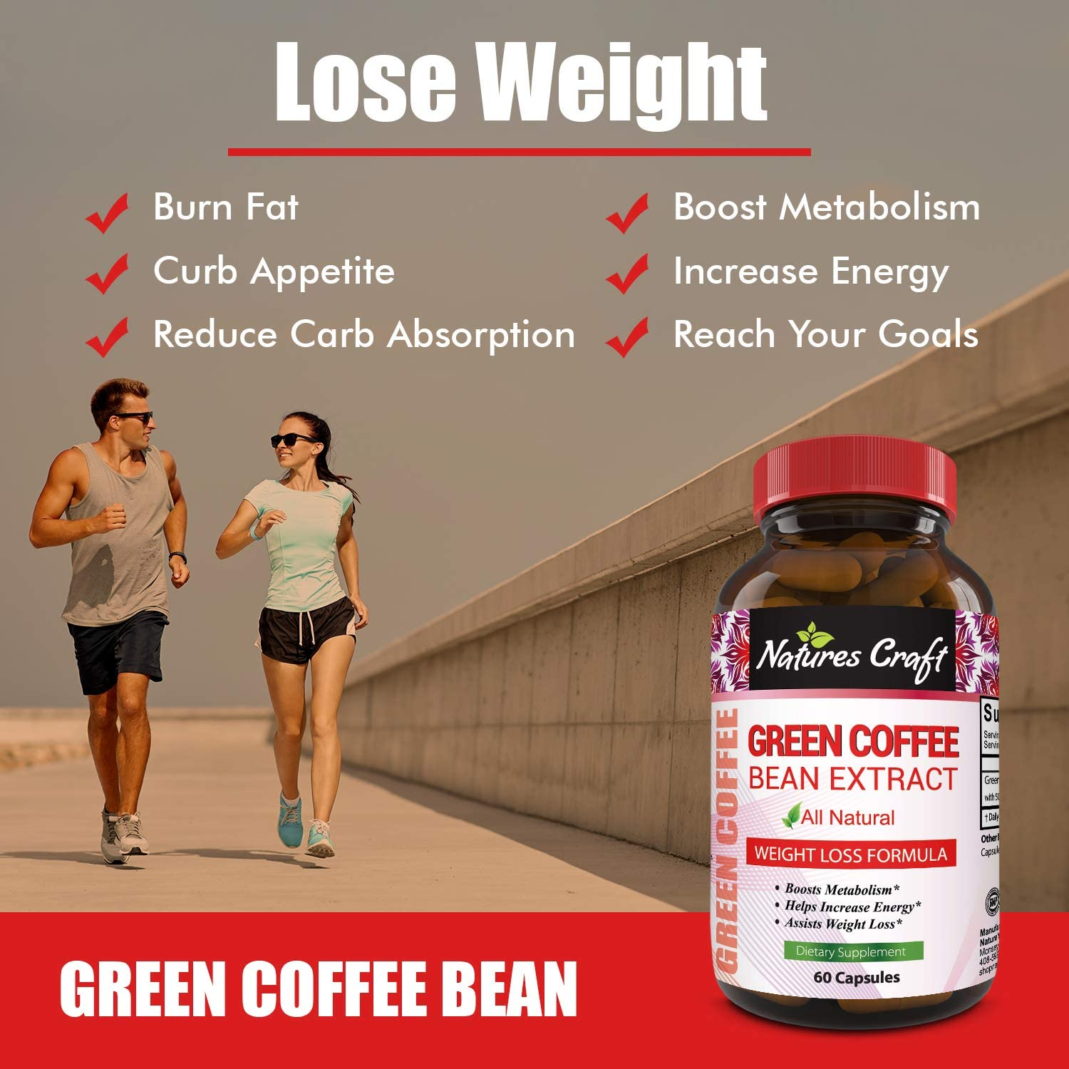 100 All Natural Green Coffee Bean Weight Loss Supplements For